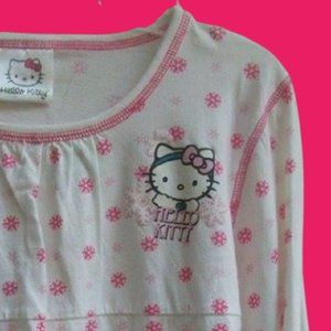 Hello Kitty White Pink PJ Top Girl Large